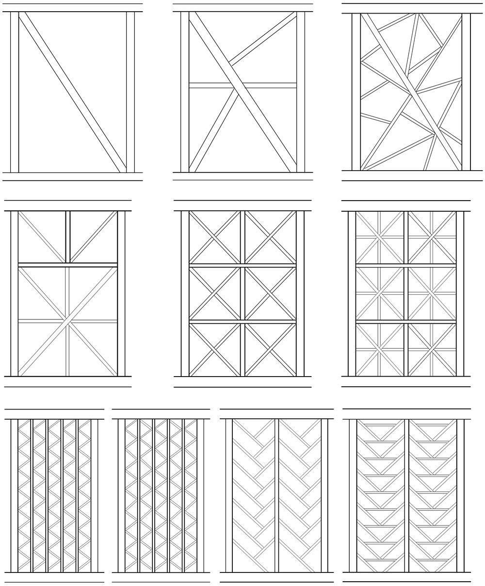 Typical bracing patterns being used post 2005 Pakistan earthquake: (top) braced frames with increasing levels of random subdivisions, (middle) frames with intermediate columns and regular cross bracing with increasing levels of refinement going from left