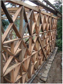 Timber frame ready to receive brick or stone infill, bracing is very much in the form of x-bracing