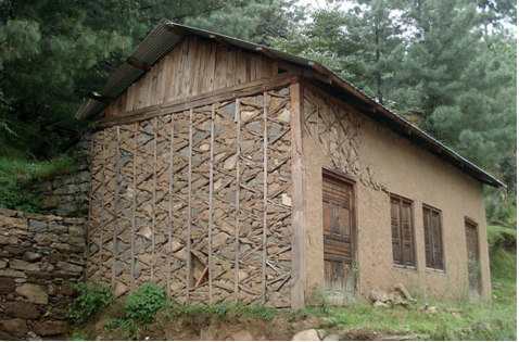 A dhajji building with gable wall with planks.