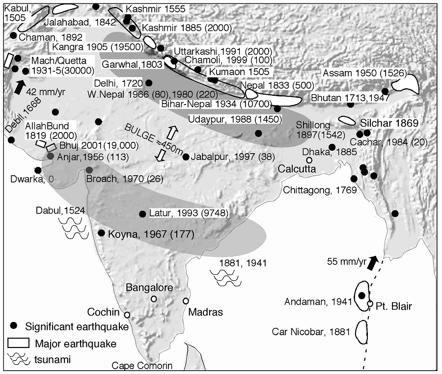 Map indicating significant earthquakes (Refs. 9 and 10) along the general Himalayan fault region.