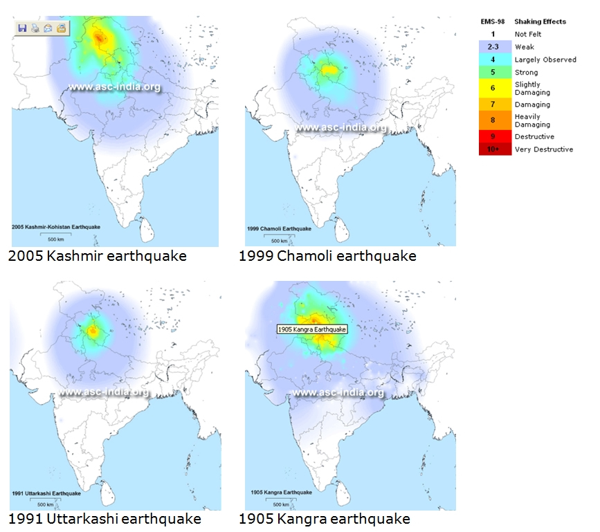 Historical intensity maps (source: www.asc-india.org).