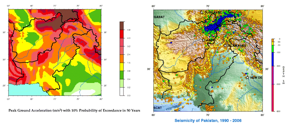 GHSAP and seismicity maps for Pakistan.