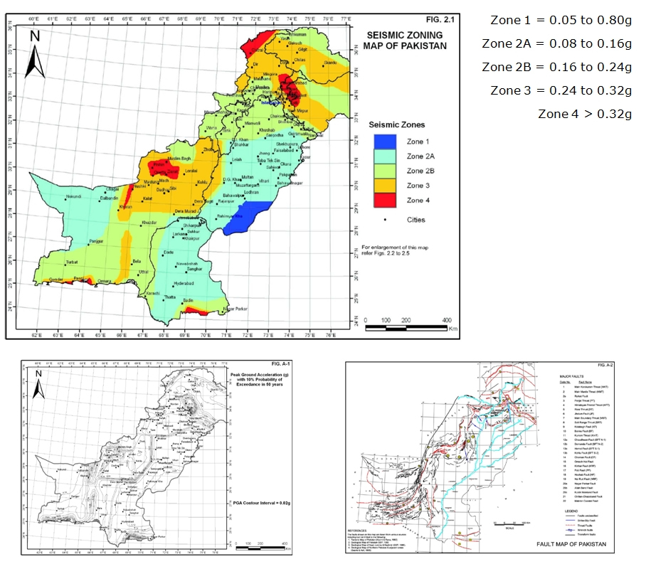 2008 Seismic hazard maps for Pakistan and map of known major faults (Building Code of Pakistan; Seismic Provisions 2007). Note: This Code is dedicated to the memory of thousands of children, women and men lost in the earthquake of October 2005.