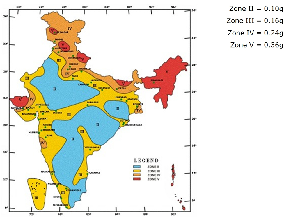 Indian Seismic Zoning Map as per IS:1893 (Part 1) 2002.
