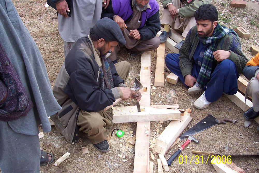 Hammer, chisel and saw are the main tools to construct a dhajji house.