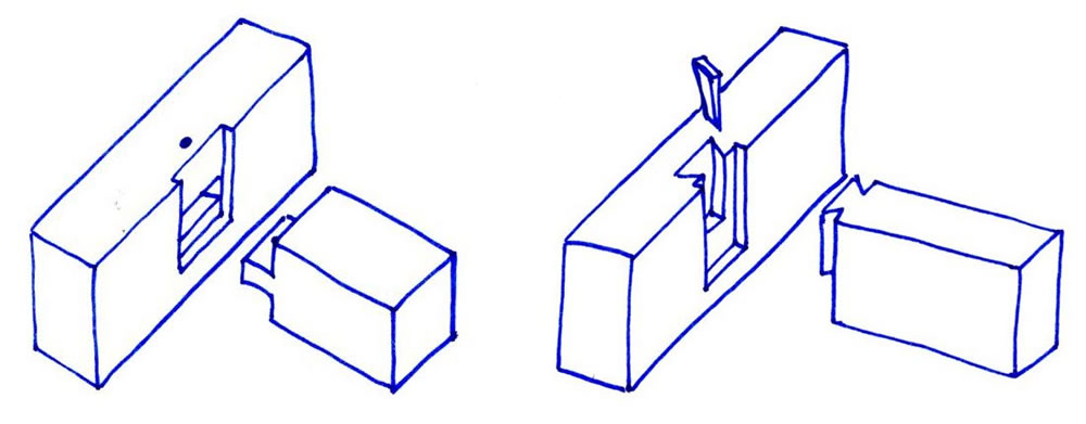 Orthogonal beam to beam connections for base plate, floor beams, and roof level. (left) The use of a peg (timber or metal) would give this connection some limited tension capacity. (right) The dovetail shape gives the connection tensile capacity, an impor