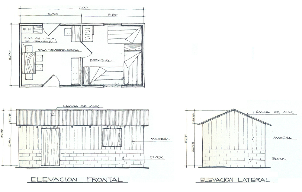 Plan and elevations of a typical minifalda building (location: San Raymundo, Guatemala)