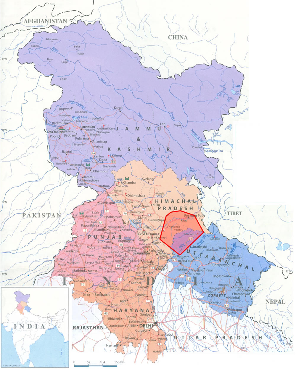 Map illustrating the respective region in Himalayan India where Koti Banal buildings are found.