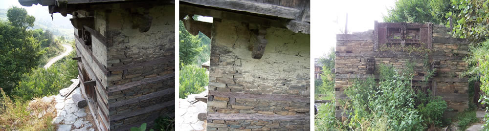 Modification of the Koti Banal construction principle: wooden logs are only arranged as ring beams between layers of stone. The interspacing heights between the layers of wooden logs range between tens of centimeters up to one meter.