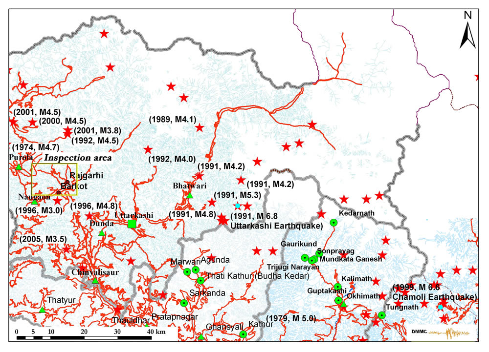 Epicenters of the major past earthquakes in the respective Himalayan region