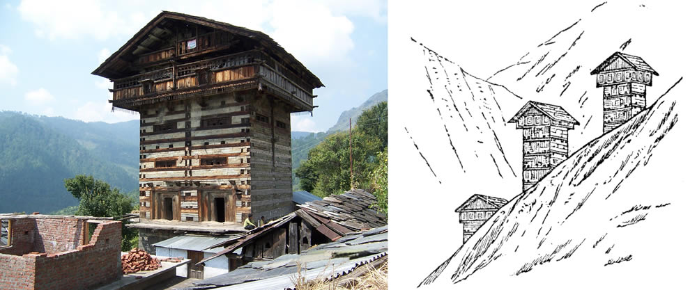 General view of a typical building located in Rajgarhi area and a sketch taken from Middlemiss (1910) illustrating structures of this type in the Kangra Valley.