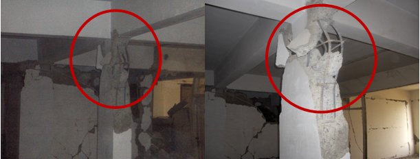 Typical damage pattern of strong beam-weak column in 2005 Kashmir earthquake.