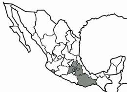 States in Central Mexico where combined and confined masonry is used (colored in gray).