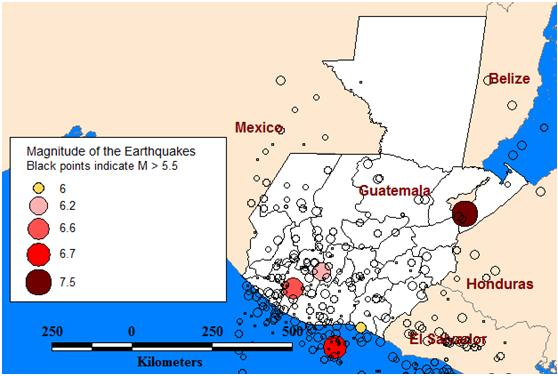 Location and magnitudes of the listed earthquakes [10]. (Map was created with Mapinfo# Professional 10.0.)