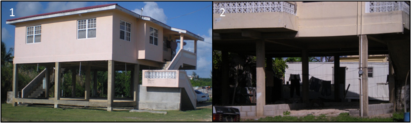 Typical building with (1) stilt construction and (2)  later an infill wall being added at ground level.