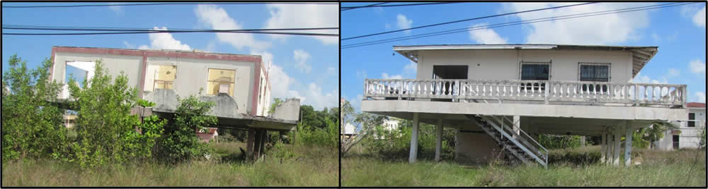 Highly variable soil conditions, these houses have  been abandoned after sinking several feet.