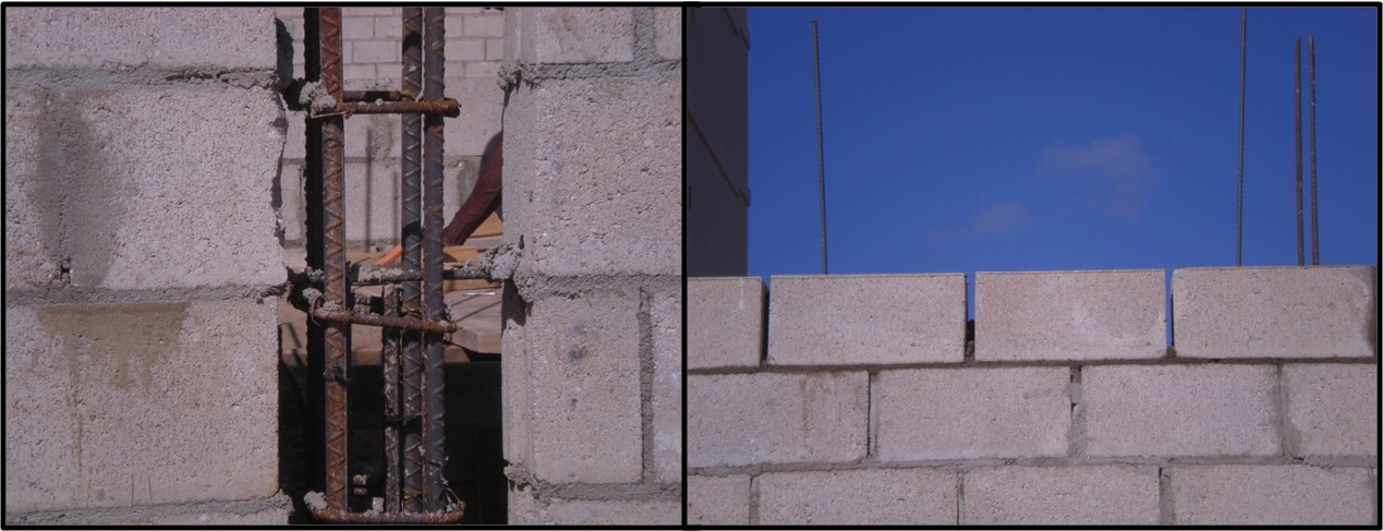 Concrete frame and masonry construction. (Note the CMU is used as formwork for the columns. Walls often have  horizontal rebar as shown in the left picture.)