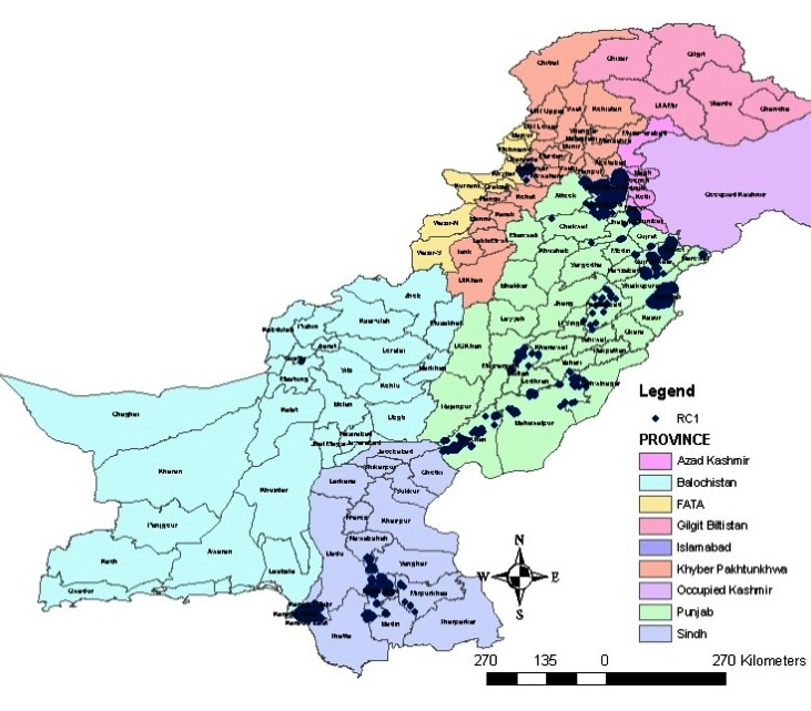 Spatial distribution of reinforced concrete buildings in Pakistan [2].