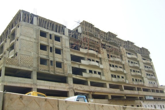 Multistory RC frame structure under construction in  Karachi.