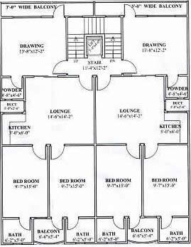 Typical floor plan of an apartment block in Clifton,  Karachi. The floor contains two individual housing units for two  different families.