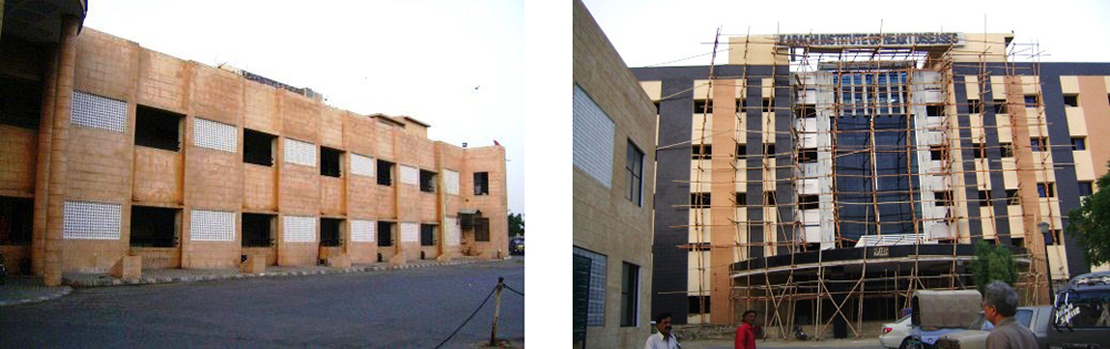 New wing of a hospital building (right) with the original, abandoned building block in foreground (left) - Karachi.
