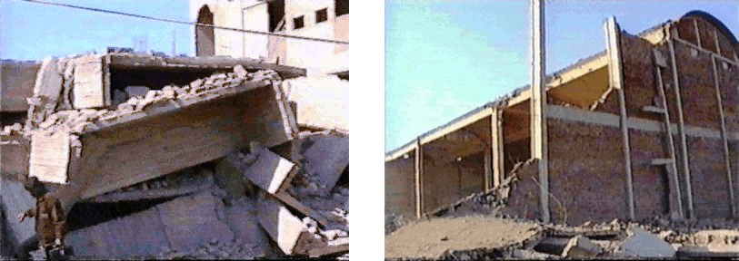 Damage to RC buildings in 2001 Bhuj Earthquake: industrial shell structure near Badin and complete collapse of apartment  building in Hyderabad.
