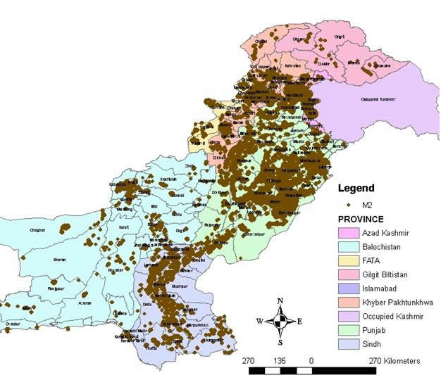 Spatial distribution of adobe masonry buildings in Pakistan [1].