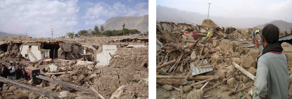 Total collapse of adobe houses during the Ziarat earthquake in 2008.