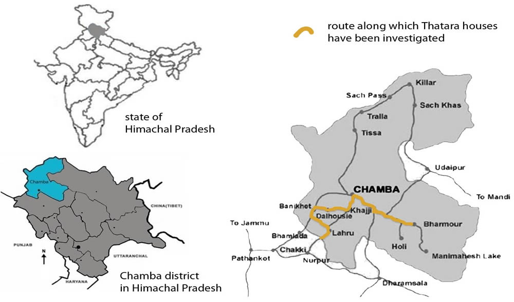 Location of the investigation area in Chamba district.