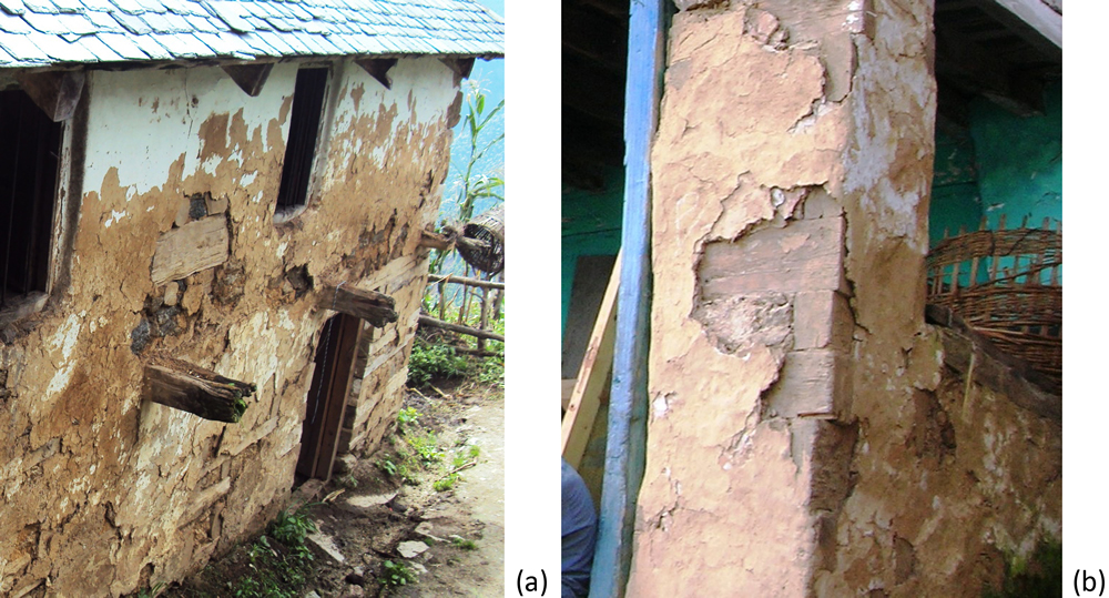 (a) Mud plastered exteriors of a Thathara house, (b) a mud plastered Thola.