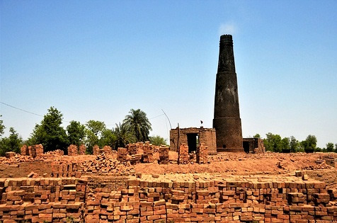 Typical brick kiln to produce fired bricks in Punjab.