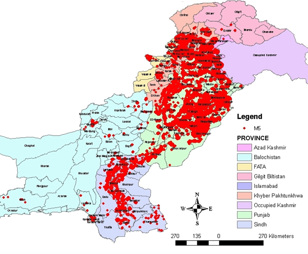 Spatial distribution of brick masonry buildings in Pakistan [1].