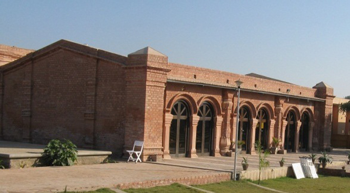 Khazana - a cultural center/library in Khairpur. Arcaded  brick construction.